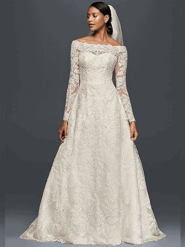 Off-The-Shoulder Lace A-Line Wedding Dress - Olleg Cassini