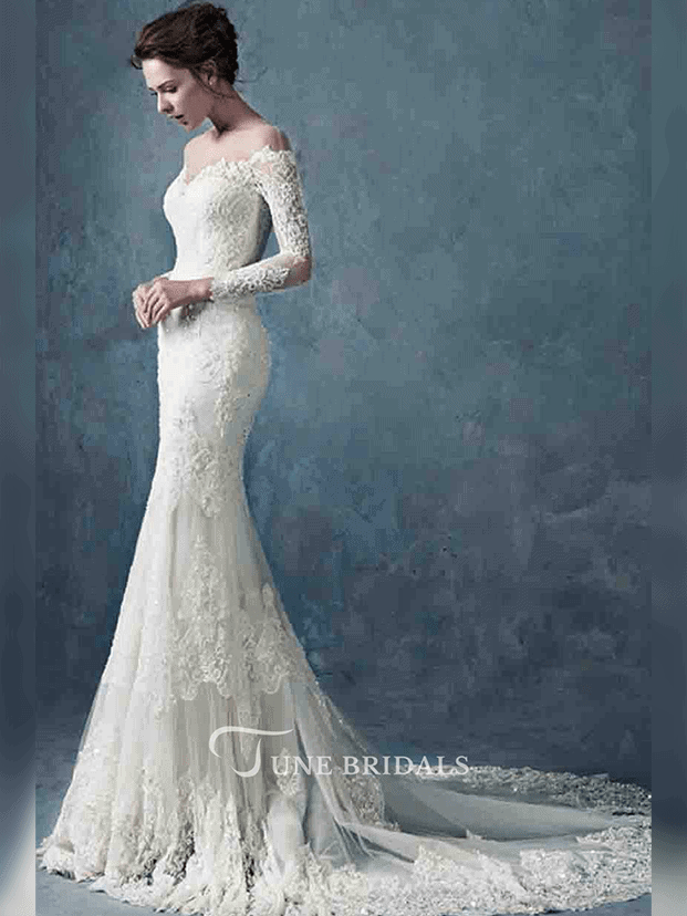 Off the Shoulder Long Lace Sleeve Lace Gown - June Bridals