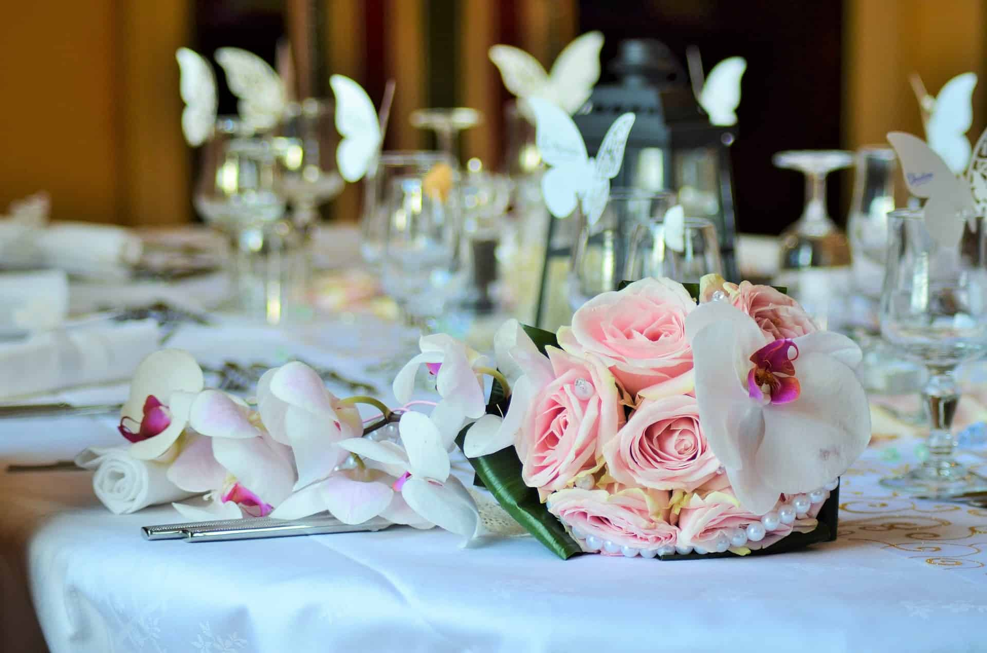 Bouquet on a wedding reception table
