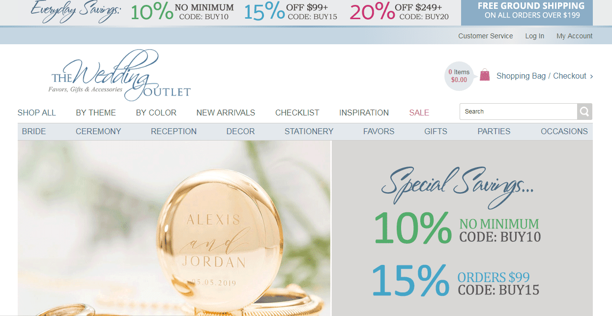 the wedding outlet website