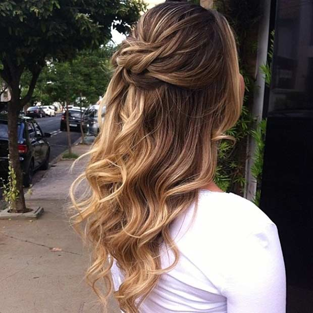 Romantic Waves & Braided Crown bridesmaid hairstyle