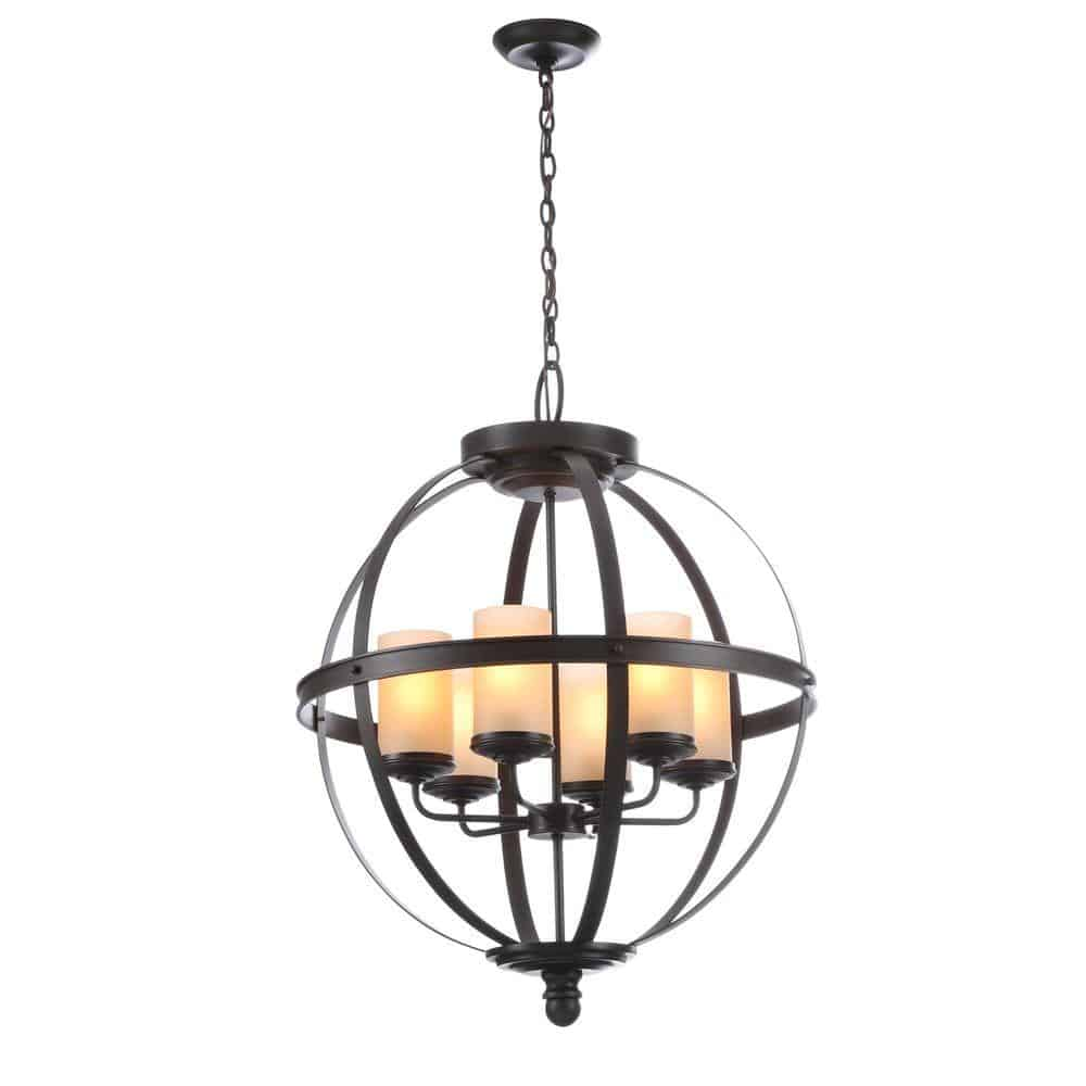 "Sea Gull Lighting Sfera 24.5"" 6-Light Autumn Bronze Chandelier with Mercury Glass Shade"