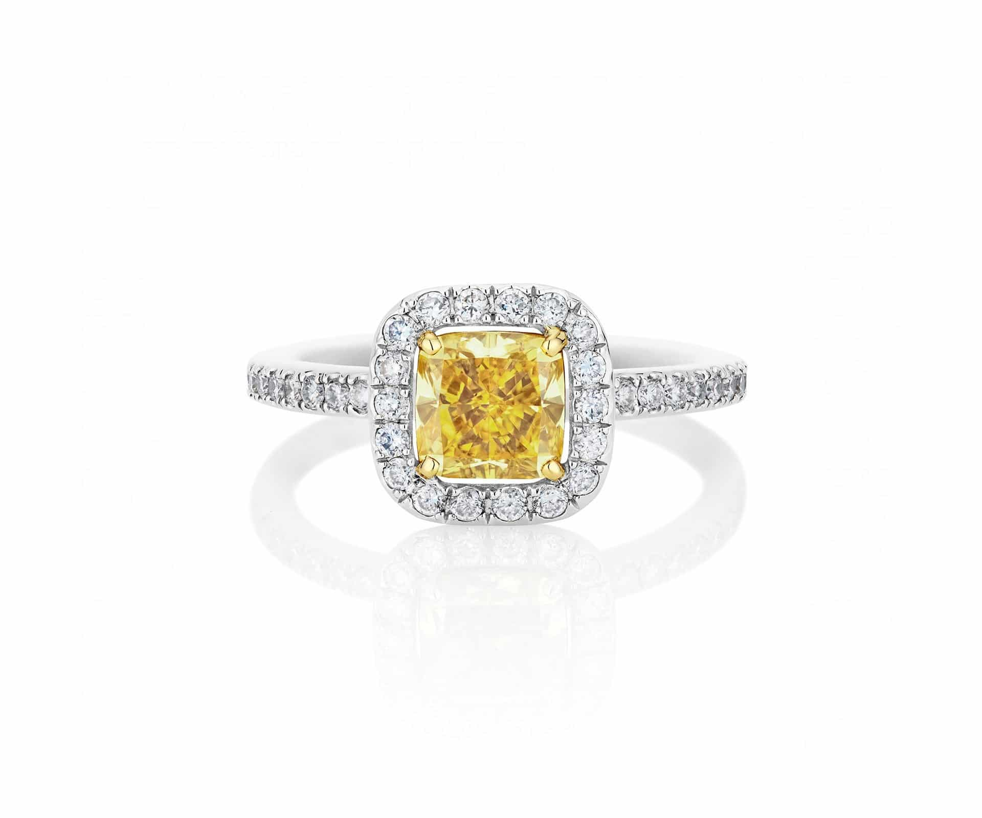 De Beers Yellow Aura Cushion Cut Ring