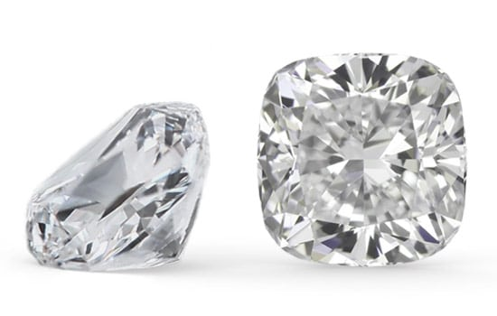 two cushion cut diamonds