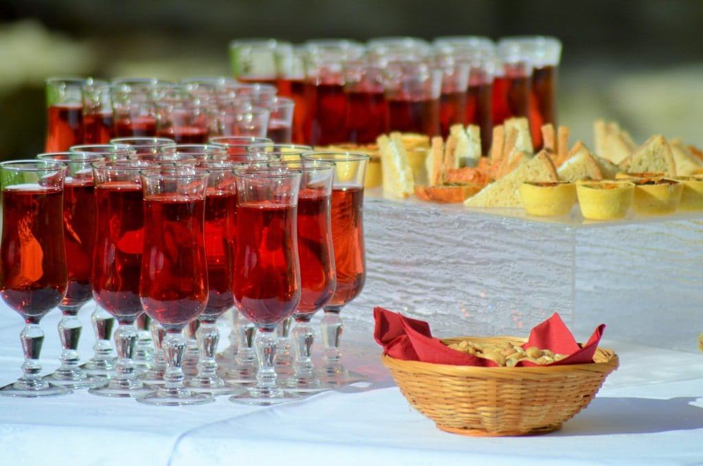 tended bar at a reception