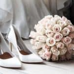 best wedding shoes and bouquet of flowers